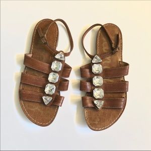 Sam Edelman Brown Tan Jeweled Sandals size 8